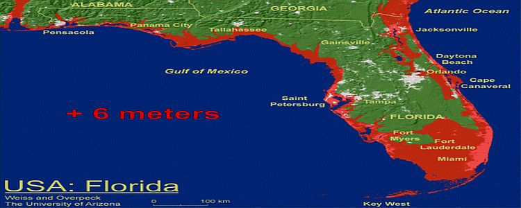 Floridafloodmapjpg - Florida elevation map